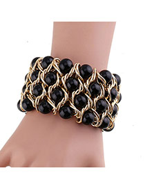 Fashion Black Big Pearls Decorated Hand-woven Width Bracelet