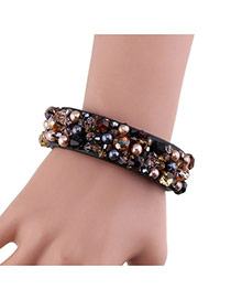 Fashion Black Beads&diamond Decorated Handmade Leather Bracelet