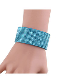 Fashion Blue Full Diamond Decorated Simple Width Leather Bracelet