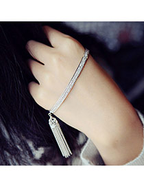 Fashion Silver Color Tassel Pendant Decorated Pure Color Simple Bracelet