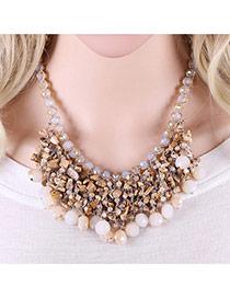 Trendy Coffee Diamond Decorated Tassel Design Simple Necklace