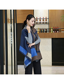 Fashion Blue+gray Grid Pattern Decorated Cloak Design Scarf