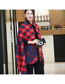 Fashion Red+navy Blue Grid Pattern Decorated Cloak Design Scarf