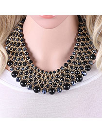Trendy Black Pearls Decorated Multi-layer Handmade Necklace