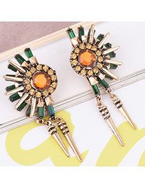 Personality Yellow Diamond Decorated Fan Shape Simple Earrings