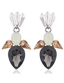 Elegant Black Watershape Diamond Decorated Simple Earrings
