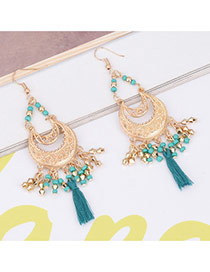 Bohemia Green Moon Shape Decorated Pure Color Simple Tassel Earrings