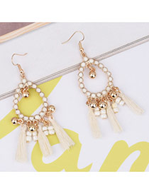 Bohemia White Tassel Pendant Decorated Hollow Out Earrings