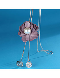 Elegant Pink Flower Shape&pearl Decorated Simple Long Chain Sweater Necklace