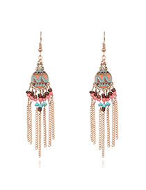 Bohemia Milti-color Round Shape Decorated Simple Tassel Earrings
