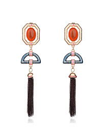 Fashion Yellow Geometric Shape Decorated Tassel Long Earrings