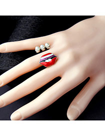 Personality Red Lip Shape Decorated Simple Opening Ring