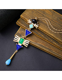 Personality Blue Geometric Shape Decorated Long Chain Simple Necklace