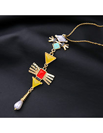 Personality Yellow Geometric Shape Decorated Long Chain Simple Necklace