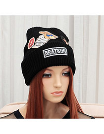 Elegant Black Cartoon Girl&letter Pattern Decorated Pure Color Cap