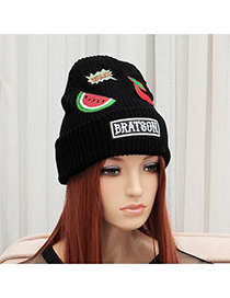 Elegant Black Watermelon&cherry Pattern Decorated Pure Color Cap