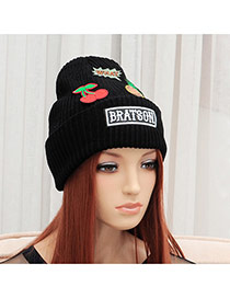 Elegant Black Pineapple&cherry Pattern Decorated Pure Color Cap