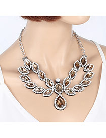 Fashion Champagne Water Drop Shape Diamond Decorated Hollow Out Necklace