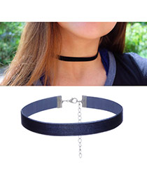 Fashion Dark Blue Pure Color Decorated Short Chain Simple Choker
