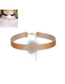Fashion Coffee Fuzzy Ball Decorated Pure Color Simple Choker