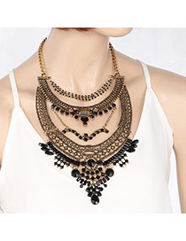 Fashion Gold Color Square Shape Diamond Hollow Out Multi-layer Necklace