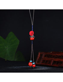 Vintage Red Flower Shape Decorated Simple Tassel Necklace