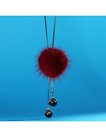Sweet Red Fuzzy Ball Decorated Long Chain Neckalce