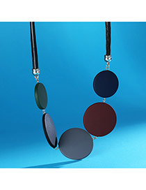 Personality Mutil-color Round Shape Decorated Short Chain Neckalce