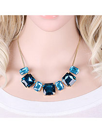 Elegant Blue Square Shape Diamond Decorated Simple Short Chain Necklace