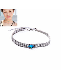 Vintage Blue Diamond Shape Decorated Pure Color Simple Choker