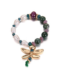 Elegant Multi-color Metal Dragonfly Pendant Decorated Simple Bracelet
