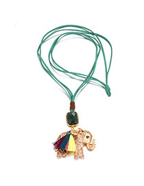 Bohemia Green+gold Color Hollow Out Elephant Decorated Double Layer Necklace