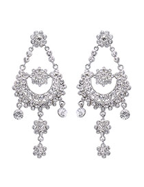 Fashion Silver Color Flower Decorated Pure Color Long Chain Simple Earrings