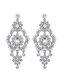 Fashion Silver Color Round Shape Diamond Decorated Flower Design Earrings