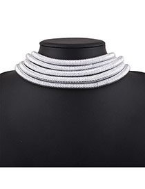 Elegant White Pure Color Decorated Simple Multilayer Chocker