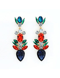 Luxury Multi-color Geometric Shape Gemstone Decorated Simple Earring