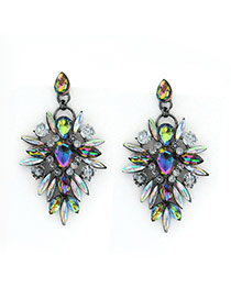 Luxury Multi-color(ab) Watedrop Diamond Decorated Hollow Out Earring