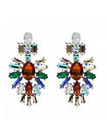 Fashion Multi-color Geometric Shape Gemstone Decorated Hollow Out Earring