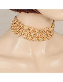 Sweet Apricot Multilayer Flower Shape Decorated Hollow Out Chocker