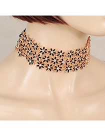 Sweet Black Multilayer Flower Shape Decorated Hollow Out Chocker