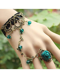 Vintage Green Beads&rose Flower Shape Decorated Leaf Design Ring