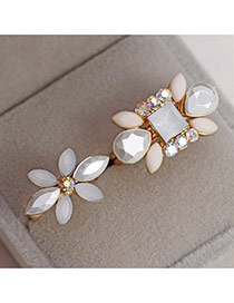 Fashion Gold Color+white Oval Shape Diamond Decorated Flower Shape Design Rings(2pcs)