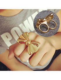 Fashion Gold Color Bowknow Decorated Pure Color Simple Ring