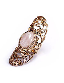 Fashion Gold Color Oval Shape Gemstone Decorated Hollow Out Design Ring