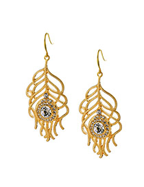 Fashion Gold Color Round Shape Diamond Decorated Hollow Out Feather Shape Earrings