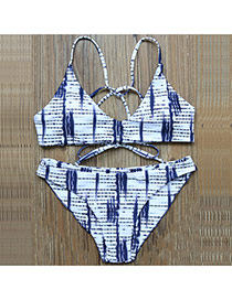 Sexy Blue Stripe Pattern Decorated Bandage Design Simple Bikini