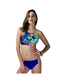 Fashion Multi-color Painting Flower Pattern Decorated Off-the-shoulder Simple Bikini