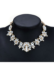 Fashion Gold Color Water Drop Shape Diamond Decorated Simple Short Necklace