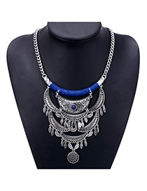 Exaggerated Blue Round Shape Pendant Decorated Tassel Design Necklace