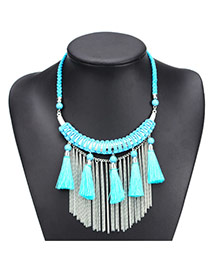 Fashion Light Blue Long Tassel Pendant Decorated Hand-woven Simple Necklace